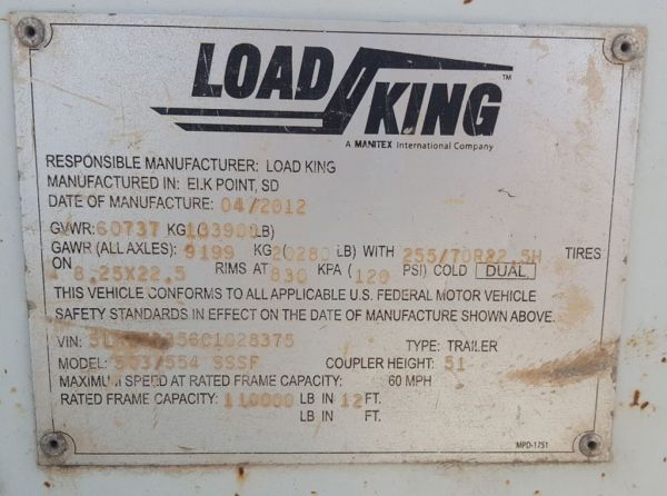 2012 LOAD KING 503-554 - LOAD KING Trailers