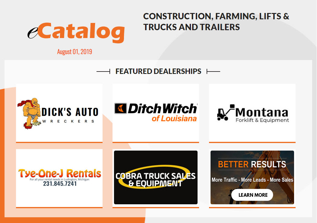 Construction, Farming, Lifts & Trucks and Trailers - August 01, 2019